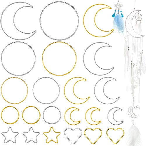 22 Pieces Dream Catcher Rings Metal Macrame Hoops Round Star Moon Heart Shape Macrame Rings for DIY Crafts Dream Catcher Making Home Wall Hanging Wreath Decoration (Silver, Gold)