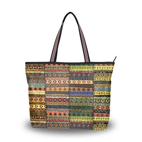 Ahomy Damen Strandtasche, afrikanische Kunst, Patchwork-Hintergrund, große Schulter-Handtasche für Damen, Mehrfarbig - multi - Größe: L