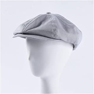 Lei Zhang New Cap Men's Wild Color Cotton Cloth Forward hat Female Casual Beret Painter hat (Color : Grey)