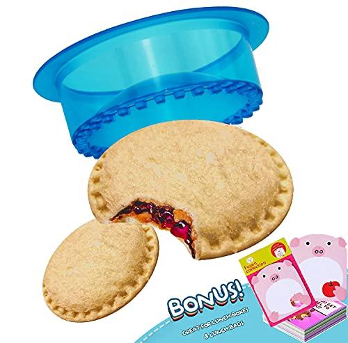 HiYZ Sandwich Cutter and Sealer, Pack of 5 Uncrustables Sandwich Maker for Kids, Bread Sandwich Decruster Pancake Maker DIY Cookie Cutter for Boys Girls Lunch Lunchbox Bento Box(Blue with Notes)