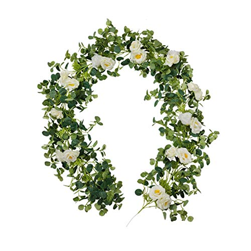chongwu 78.78in Artificial Flower Vine, Artificial Eucalyptus Rattan, Fake Flower Plant Flower Vine Leaf, Realistic And Natural, Perfect For Wall Decoration, Wedding, Bridal, White