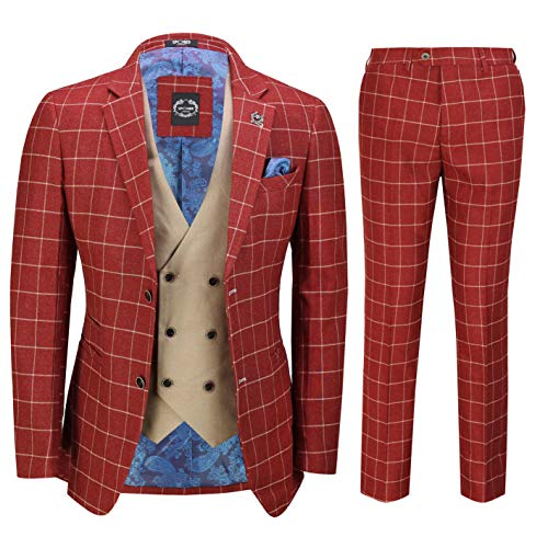 Xposed Herren 3 Stück Kastanienbraun Retro Grid Überprüft Anzug mit Kontrast zweireihiger Weste elegant Maßgeschneidert[SUIT-GABIN-Rot-52]