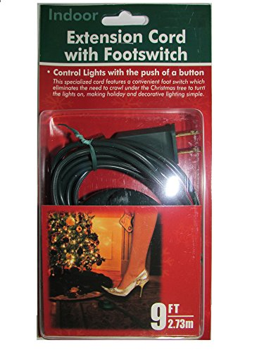 9 Foot Christmas Extension Cord with On/Off Foot Switch - UL Listed (Green)
