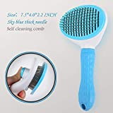 Pet Grooming Brush One-Button Slicker Brushes for Cats and Dogs Long Hair Best Hair Remover Shedding Tool Undercoat Rake Corner Scratcher(Thick Needle Sky Blue)