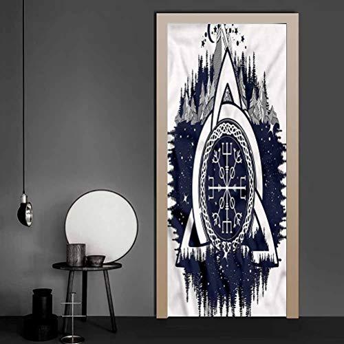Door Sticker Blue and White, Celtic Knot Vinyl Door Mural Decals for Bathroom Door 36 x 79 Inch