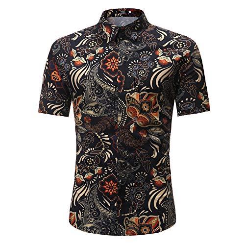 Camisa Retro de Manga Corta para Hombre, Moda, Bloqueo de Color, impresión, Tendencia, básica, Camisa con Botones, Tops XL