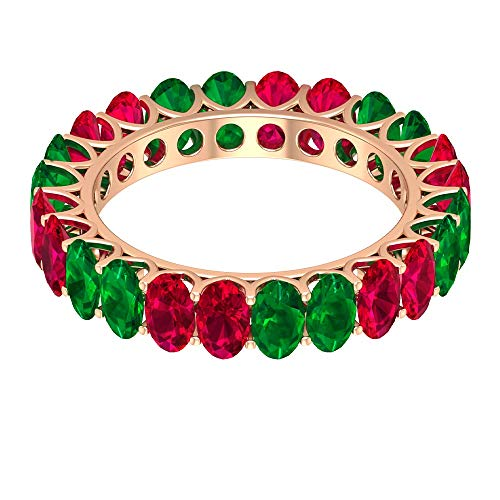 Rosec Jewels 10 quilates oro rosa ovalada Red Green Ruby Emerald