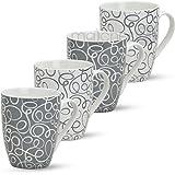 matches21 Tassen Becher Retro Design 4-tlg. Set Kaffeebecher Kaffeetassen grau weiß aus Porzellan...