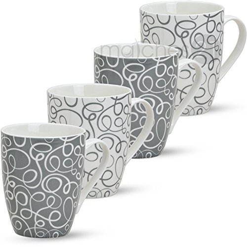 matches21 Tassen Becher Retro Design 4-tlg. Set Kaffeebecher Kaffeetassen grau weiß aus Porzellan je 10 cm/max. 300 ml