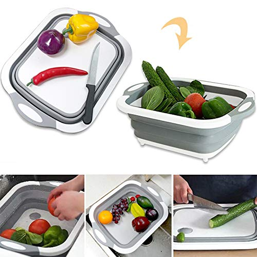 Collapsible Fold Cutting Board with Dish Tub Space Save Folding Washing Bowl Draining Basket Basin Sink Colander with Plug Chopping Slicing Board Wash Strainer for Camping Picnic BBQ Kitchen (Style-1)