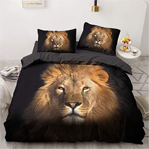 Kooyr Bettbezug Löwe, 3D-Bettwäsche-Set aus Polyesterfaser, Tiermotiv, 2/3-teilig, Bettbezug für Kinder und Jugendliche (10,135 x 200 cm)