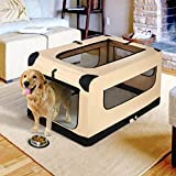 42Inch Dog Crate Folding Soft Kennel Indoor Outdoor Travel Use for Large Dogs with Straps