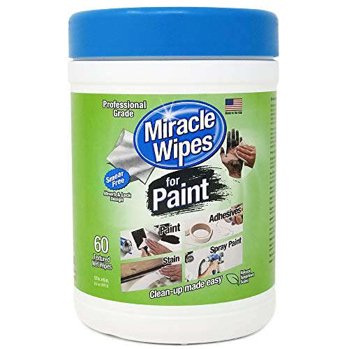 MiracleWipes for Paint Cleanup - All Purpose Cleaner, Brushes, Wet Paint, Caulking, Hands, Epoxy, Acrylic, DIY - Removes Grease, Grime, Oils, Adhesives & More - Cleaning Supplies - (60 Count)