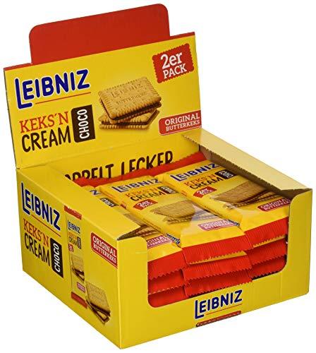 Leibniz Keks'n Cream Choco Schokoriegel 2er - 18er Pack - zwei original Butterkekse mit Kakaocremefüllung -Thekenaufsteller (18 x 38 g)