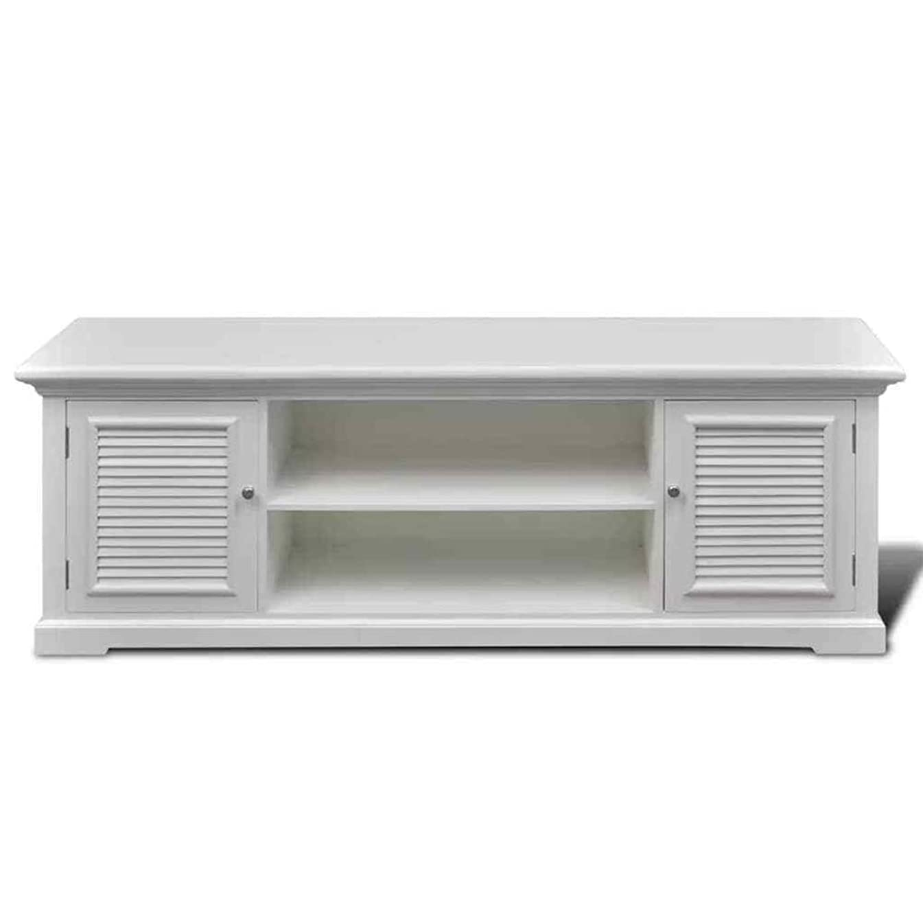 Thaweesuk Shop White TV Stand Entertainment Center Media Console Furniture Storage Wood Cabinet White MDF Pine Wood Frame Iron Handle 4' x 1' x 1' 4