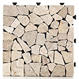 HORI® Terrassenfliesen steinoptik I Klick Bodenfliesen aus Naturstein I Modell: Steine beige fein