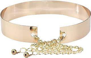 Adela Boutique Womens Fashion Metal Waist Belt Mirror Plate Waistband Belt Chain Dress Decorated Skinny Waist Belt