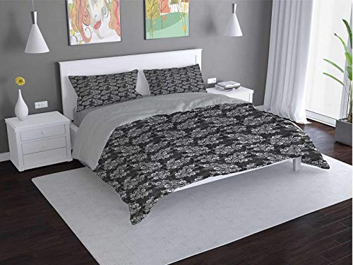 Toopeek Damask Quilt cover 3-piece set Flower-Bouquets-Bridal Super soft and easy to maintain (King)