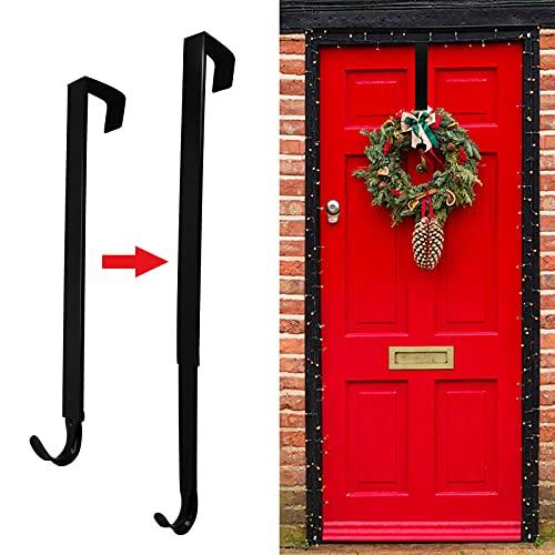 Wreath Hanger for Front Door, Adjustable Wreath Hanger from 15 to 25 Inches Wreath Hanger, 20 lbs Larger Door Upgrade Wreath Hanger Christmas Wreaths Decorations Hook (Black)