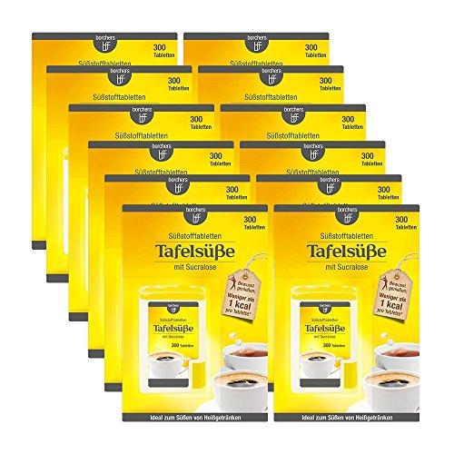 12 x borchers Sucralose Süßungstabletten, im Spender, Tafelsüße, Für Kaffee, Tee und Heißgetränke 12 x 300 Tabletten