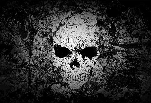 10x8ft Grunge Scary Skull Fotografie Hintergrund Abstrakt Vintage Gothic Style Skelett Kopf Horror Hintergrund Film Poster Wallpaper Böse Halloween-Hintergründe für Partys Fotostudio