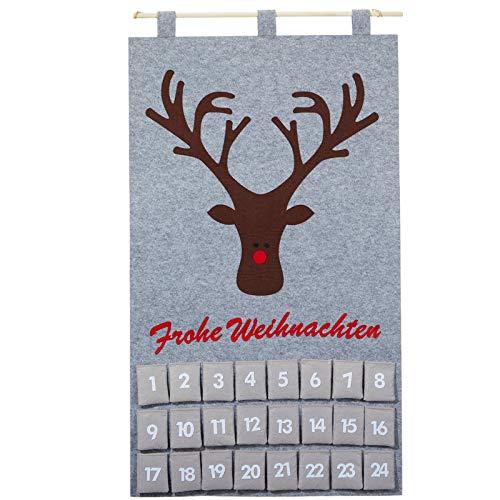JEMIDI Adventskalender Türkalender zum selbst befüllen Filz füllen Kalender Weihnachts Advents und jedes Jahr Wieder verwenden (Grau Elch)