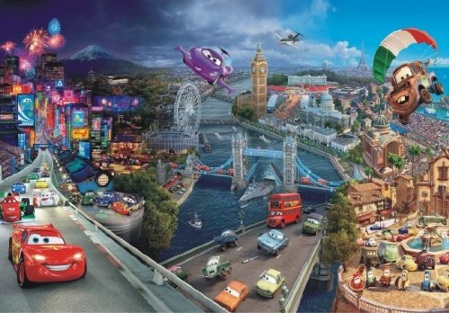 Fototapete Cars 2 Städte Pixar Kindertapete Foto 360 cm x 254 cm