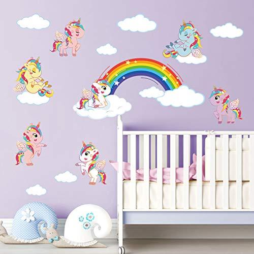 ufengke Pegatinas de Pared Unicornio Arcoiris Vinilos Adhesivos Pared Nube Decorativos para Dormitorio Infantiles Habitación Bebés Niñas