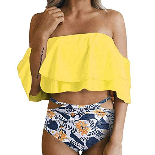 QingJiu Frauen Hight Taille gedruckt Bikini Set Push-Up gepolsterte Badebekleidung Badeanzug(Gelb,X-Large)