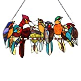stained glass birds window panel - Capulina Tiffany Glass Panel, Handcrafted 8 Birds on a Wire Stained Glass, Bird Stained Glass Window Panel, Stained Glass Birds Images, Tiffany Window Panels, Tiffany Window Panel(W22.1x H12.8)