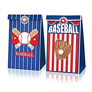 XDLEE 24 Pack Baseball Party Goodie Candy Favor Bags with Stickers Baseball Goodie Gift Treat Bags Baseball Themed Birthday Party MLB Game Celebration Supplies