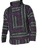 Del Mex Deluxe Mexican Baja Hoodie Sweatshirt Pullover Jerga Surf Poncho Drug Rug (Purple, Large)