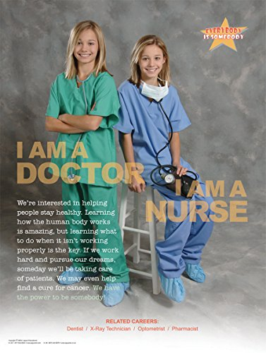 I Am a Doctor I Am a Nurse Laminated Poster for Elementary and Middle School Student Career Education with a Medical Health Care Profession Theme