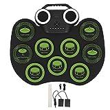 Batería electrónica Juego de batería eléctrica USB portátil con altavoz Instrumento musical Negro
