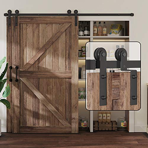 WINSOON 8FT Single Track Bypass Sliding Barn Door Hardware Kit for Double Doors, Low Ceiling, Easy Mount, Heavy Duty, Slide Quietly and Smoothly
