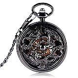 UIOXAIE Reloj de Bolsillo Reloj de Bolsillo mecánico de Cuerda Manual para Hombre, números Romanos, exquisitos Relojes con grúas Negras Huecas, Reloj de Moda, Cadena de Regalo