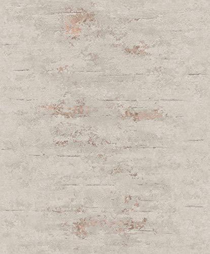 Grandeco On4202 Tapete, Grau, Orion Beton, Industriestein, Used-Look, Kupfer