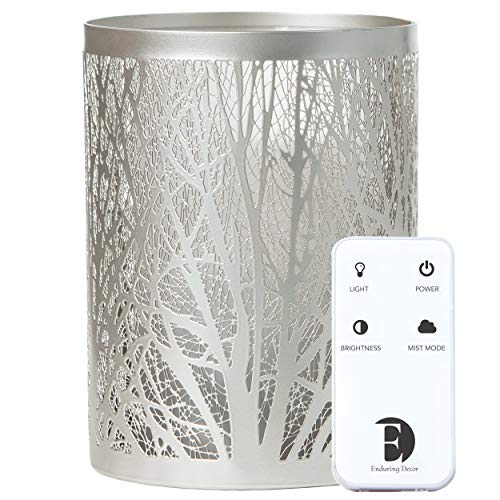 Enduring Decor Forest Aromatherapy Essential Oil Diffuser - Modern Metal & Glass Design. Remote Controlled Operation, Bright & Candle Modes & Soothing Cool Mist. Adjustable Mist Mode & Auto Shut-Off