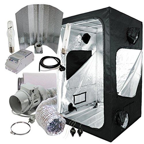Cultivalley Growbox Komplett-Set 120x120x200cm, 600W NDL MH Wuchs & HPS Blüte Bausatz, 280m³ Standard Klimaset mit AKF
