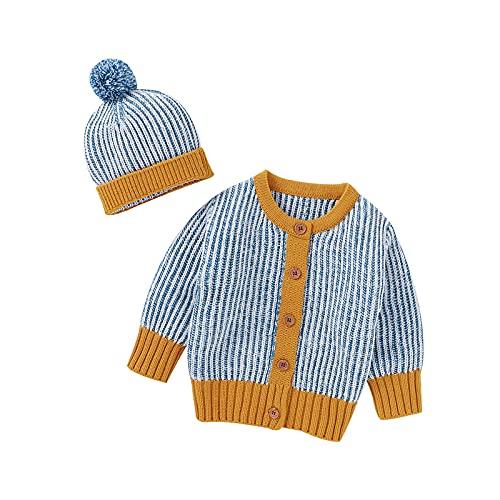 Borlai Chaqueta de ganchillo con gorro y botón para recién nacido, azul, 12-18 Meses