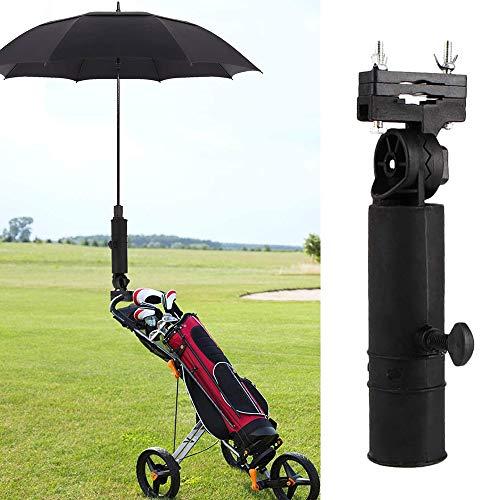 Winmany Golftrolley Regenschirmhalter verstellbar Golfwagen Schirmständer Rack für alle Golfwagen Griffe Rollstuhl Fahrrad Kinderwagen, Schwarz , 8.86''X1.61''