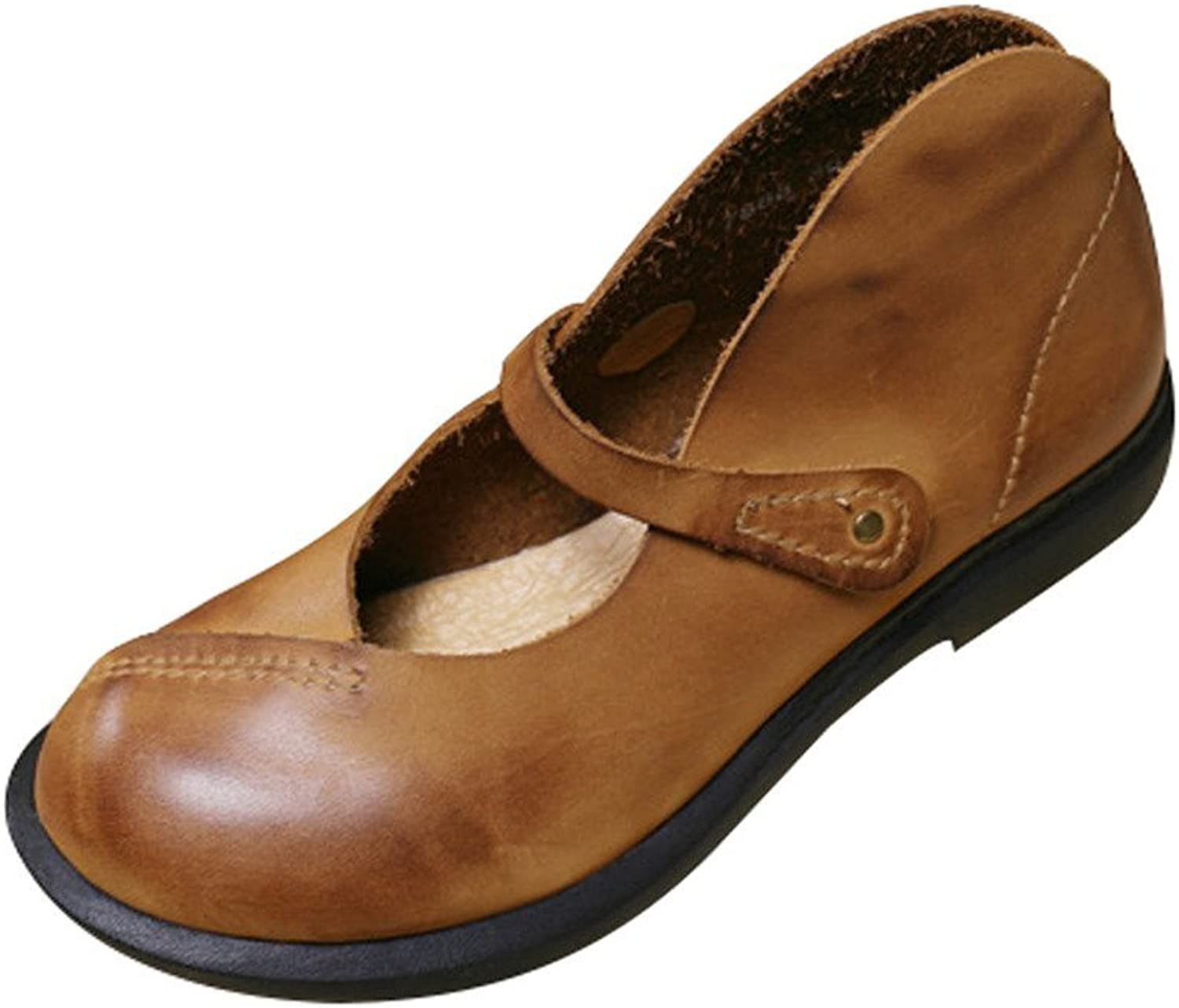 Yolee Women's Leather Flats Yellow 6.0