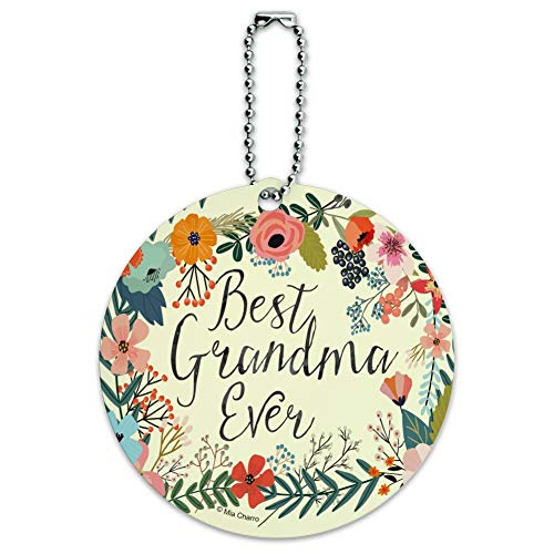 Best Grandma Ever Floral Round Luggage ID Tag Card Suitcase Carry-On