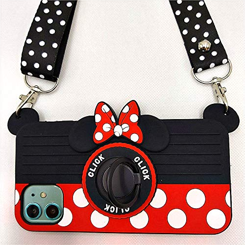 """iPhone 11 Pro Case Cute iPhone 11 Pro Case Minnie Mouse 3D Carton Camera with Rotating Ring Grip Holder Kickstand Lanyard Teens Girls Women Soft Silicone Rubber Cover for iPhone 11 Pro -5.8"""" (11 Pro)"""