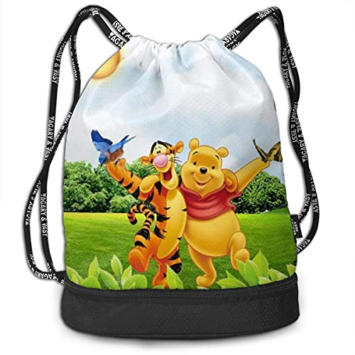KINGAM Winnie Pooh - Mochila con cordón para tirar y tirar, tamaño grande, con cremallera, resistente al agua, deportes, gimnasio, compras, yoga, danza, playa, regalos para mujeres, hombres y niños