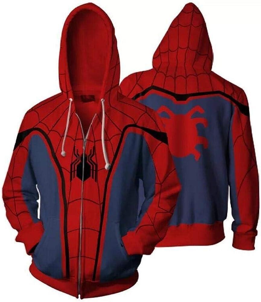 SQDWYA Sweat À Capuche 3D, Chandail Retourne Le Pull Cardigan Zippé À Capuche Spider-Man Xxl