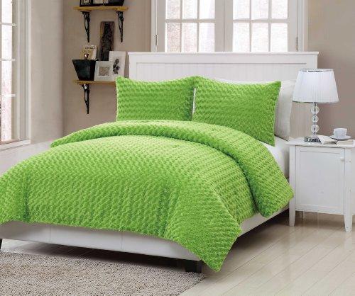 VCNY Rose Fur 3-Piece Comforter Set, Full, Green