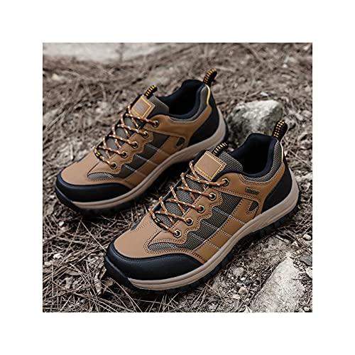 Sebasty Zapatos para Caminar Al Aire Libre,Zapatos para Correr en Bicicleta de Montaña para Hombres,Zapatillas para Caminar Al Aire Libre,Entrenamiento Cruzado para Caminatas,Yellow-46