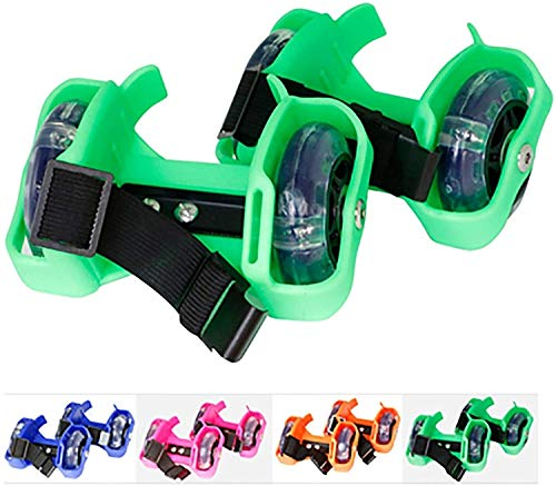 Candy Color Kunststoff Star Rollschuhe, Hot Wheels Kinder Flash Rollschuhe, Sport Entertainment Heel Rollschuhe,Green