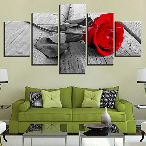 ARXBH Poster da Parete con 5 Pannelli 200 X 100 Cm / 78,8 X 39,4 Pollici Quadri di Stampa Artistica da Parete 5 Rose Rosse su Tavola di Legno Dipinto Soggiorno Moderno Poster su Tela - Allungato